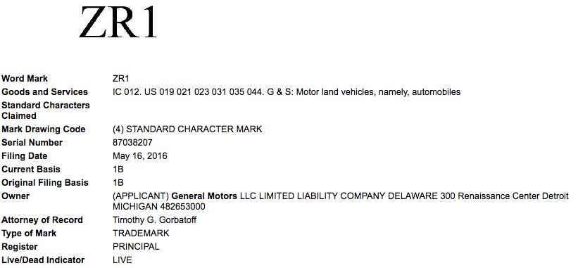 General-Motors-ZR1-Trademark-Application-USPTO