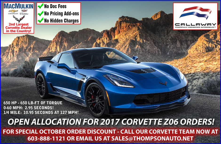 Open allocation for 2017 Corvette Z06 Orders!