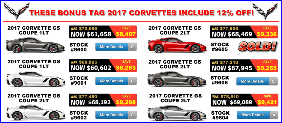 2017 Corvette Grand Sport Bonus Tag Sale