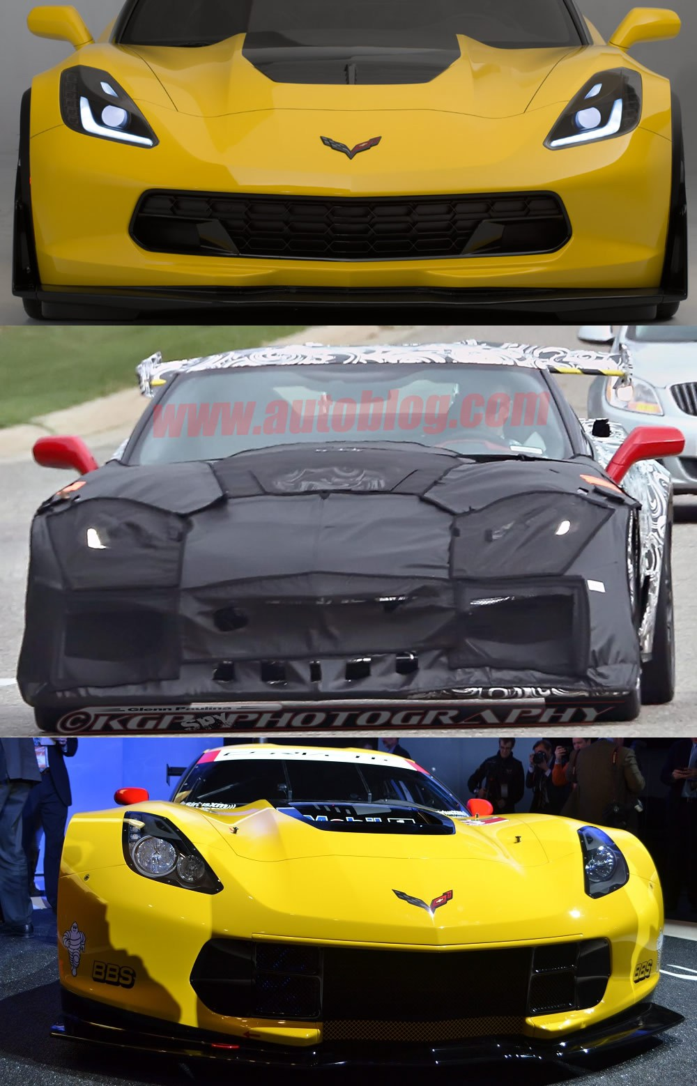 2015 Corvette Z06 on top, 2018 Corvette ZR1 Test Mule in the middle, Corvette Racing's C7.R on the bottom.