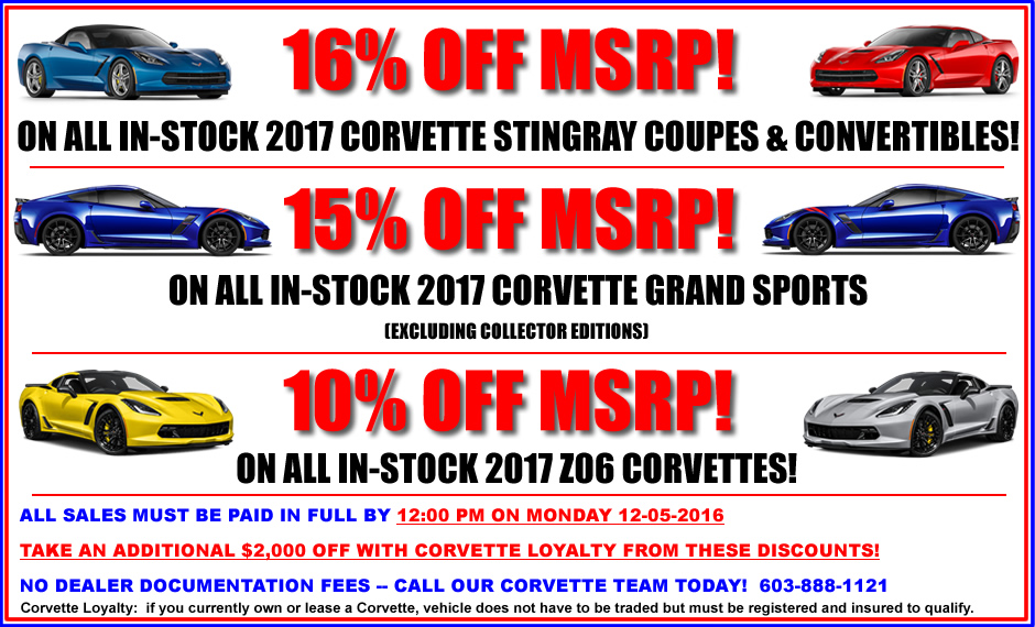 HUGE Discounts on 2017 Corvettes - 4 Days ONLY!!